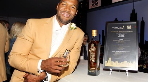 Michael Strahan celebrates with Johnnie Walker Blue Label at this Hall of Fame Induction Party 2