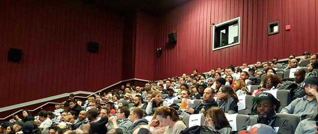 Audience at the AEM, HOMBRE Screening