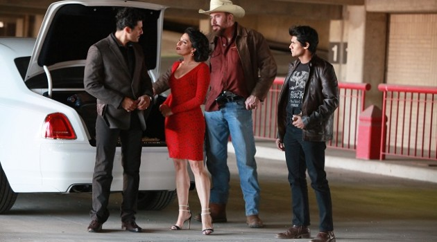 "QUEEN OF THE SOUTH -- ""Cogo Todo Lo Que Puede Llevar"" Episode 109 -- Pictured: (l-r) Rigo Sanchez as Villagrossa, Veronica Falcon as Camila Vargas -- (Photo by: Bill Matlock/USA Network)"